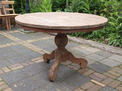 Teak Tisch rund Ø 120 cm altes Holz   - Bild 0