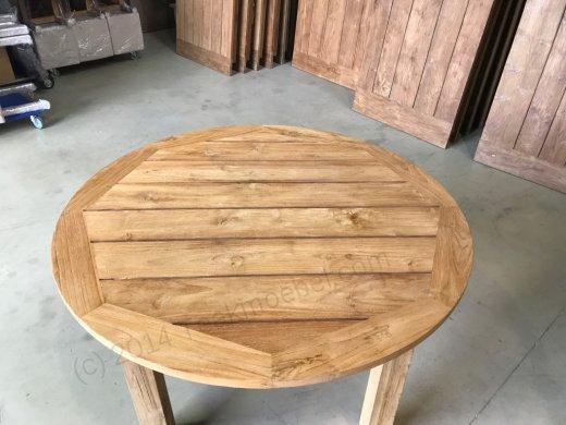 Runder teak Gartentisch 160cm - 4 Füßen - Bild 0