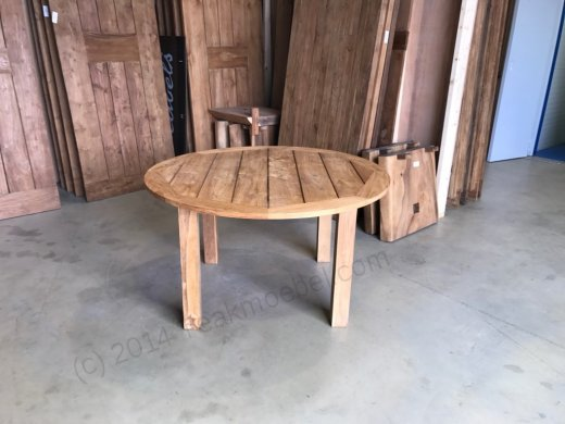 Runder teak Gartentisch 160cm - 4 Füßen - Bild 1