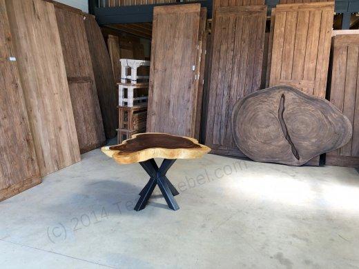 Suar Baumstamm Tisch 120 x 100 Stahlfuss - Bild 0
