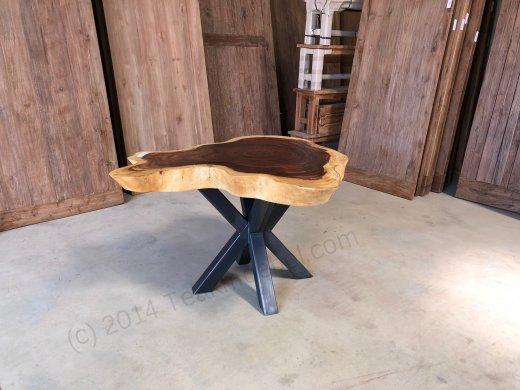 Suar Baumstamm Tisch 120 x 100 Stahlfuss - Bild 1