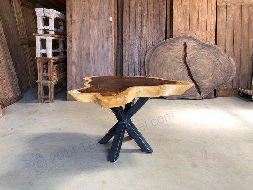 Suar Baumstamm Tisch 120 x 100 Stahlfuss - Bild 7