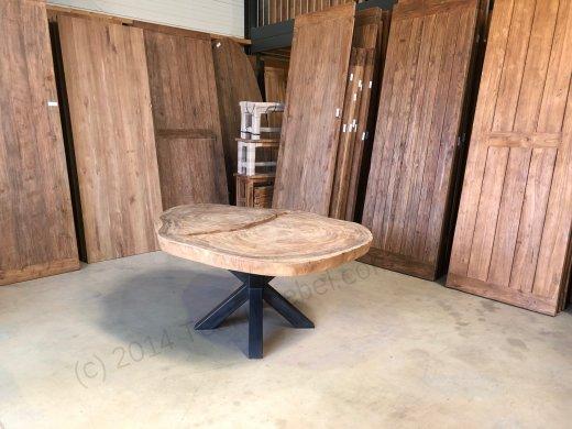 Suar Baumstamm Tisch 205 x 150 Stahlfuss - Bild 2