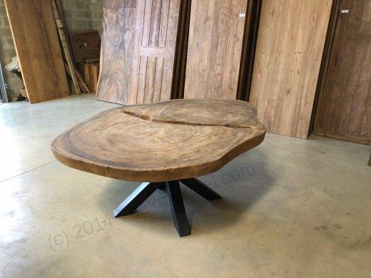 Suar Baumstamm Tisch 205 x 150 Stahlfuss - Bild 9