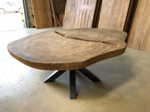 Suar Baumstamm Tisch 205 x 150 Stahlfuss - Bild 10