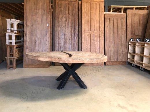 Suar Baumstamm Tisch 205 x 150 Stahlfuss - Bild 1