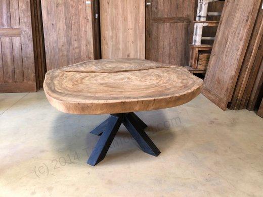 Suar Baumstamm Tisch 205 x 150 Stahlfuss - Bild 3