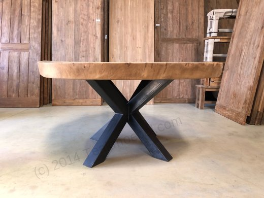 Suar Baumstamm Tisch 205 x 150 Stahlfuss - Bild 4