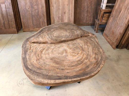 Suar Baumstamm Tisch 205 x 150 Stahlfuss - Bild 6