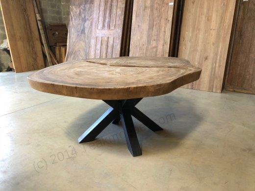 Suar Baumstamm Tisch 205 x 150 Stahlfuss - Bild 8