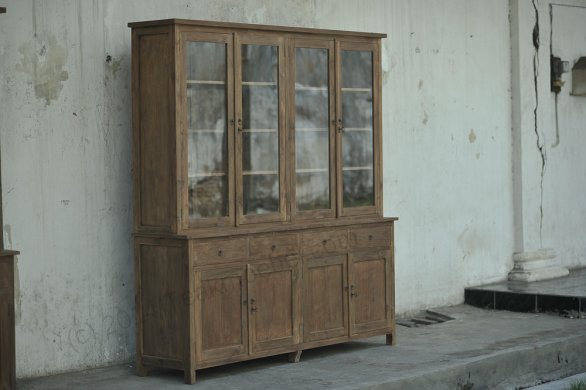 Teak Büffetschrank aus altem Holz 200cm Drehtüren - Bild 7
