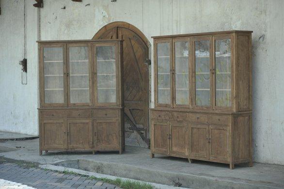 Teak Büffetschrank aus altem Holz 200cm Drehtüren - Bild 8