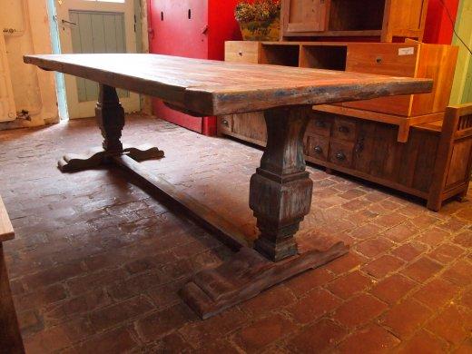 Teak Klostertisch mit Farbresten - Bild 0