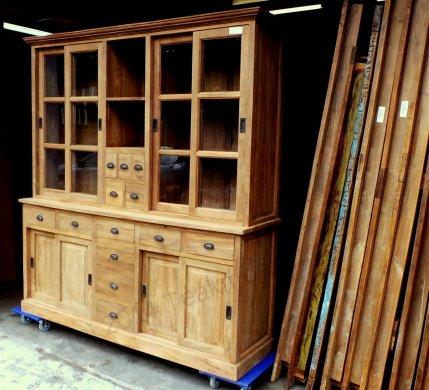 Teak Ladenschrank 245x45-55x225cm mit Leisten - Bild 1