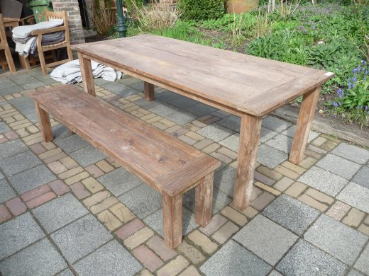 Teak Tisch aus altem Holz 220 x 100 cm - Bild 1