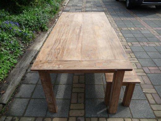 Teak Tisch aus altem Holz 220 x 100 cm - Bild 9