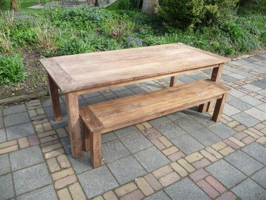 Teak Tisch aus altem Holz 220 x 100 cm - Bild 6