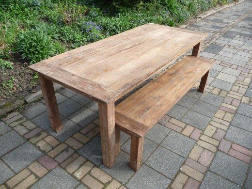 Teak Tisch aus altem Holz 220 x 100 cm - Bild 7