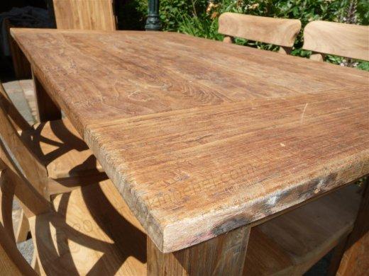 Teak Tisch aus altem Holz 120 x 80 cm - Bild 5