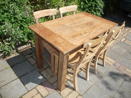Teak Tisch aus altem Holz 120 x 80 cm - Bild 2