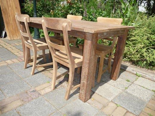 Teak Tisch aus altem Holz 160 x 90 cm - Bild 2