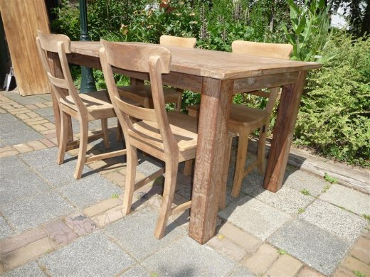 Teak Tisch aus altem Holz 160 x 90 cm - Bild 12