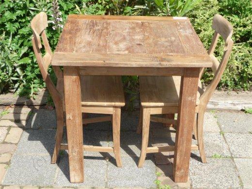 Teak Tisch altes Holz 80 x 80 cm - Bild 0