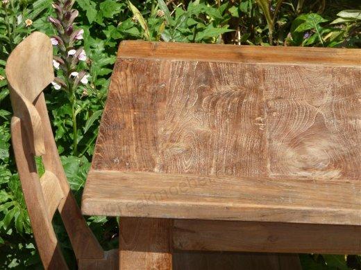 Teak Tisch altes Holz 80 x 80 cm - Bild 1
