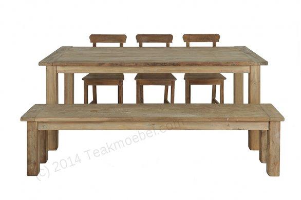 Teak Tisch aus altem Holz 200 x 100 cm - Bild 0