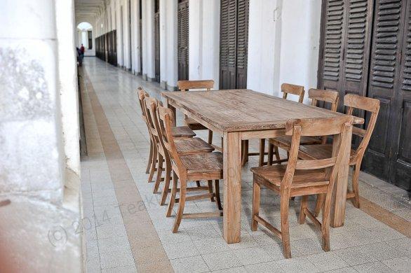 Teak Tisch aus altem Holz 200 x 90 cm - Bild 0