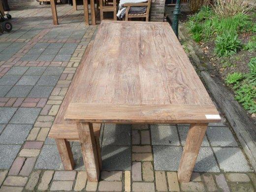 Teak Tisch aus altem Holz 220 x 100 cm - Bild 0