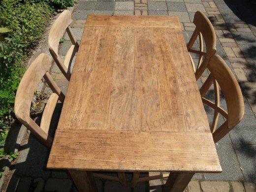 Teak Tisch aus altem Holz 120 x 80 cm - Bild 0
