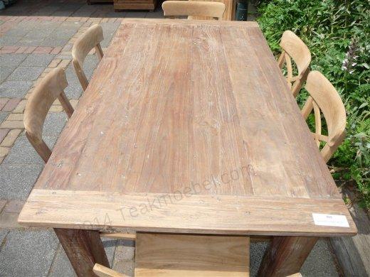Teak Tisch aus altem Holz 160 x 90 cm - Bild 0