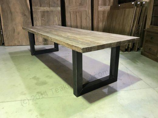 Teak Esstisch 300x100 mit Stahlbeinen - Bild 1