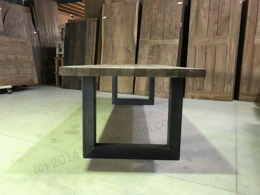 Teak Esstisch 300x100 mit Stahlbeinen - Bild 3