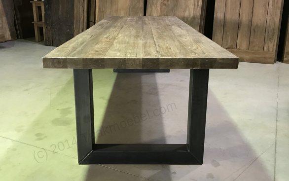 Teak Esstisch 300x100 mit Stahlbeinen - Bild 4