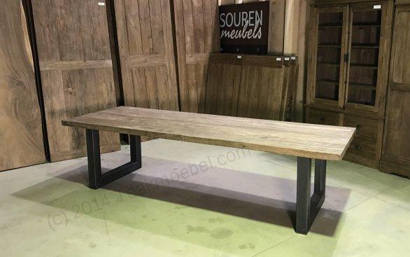 Teak Esstisch 300x100 mit Stahlbeinen - Bild 7