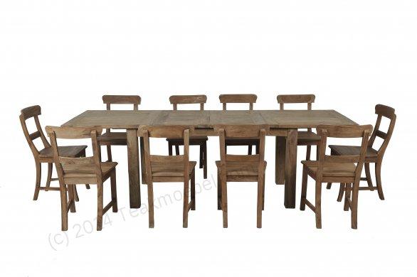 Teak Esstisch Ausziehbar 160-210-260x90 + 10 Stühle - Bild 0