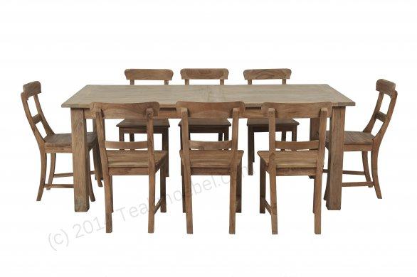 Teak Esstisch Ausziehbar 200-250-300x100 + 12 Stühle - Bild 3