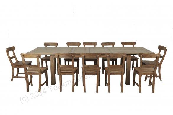 Teak Esstisch Ausziehbar 200-250-300x100 + 12 Stühle - Bild 0