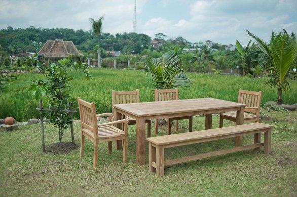 Teak Gartenbank ohne Lehne 240cm - Bild 2