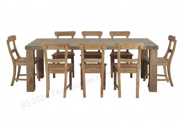 Teak Klostertisch straight legs 200 x 100 + 8 Stühle - Bild 0