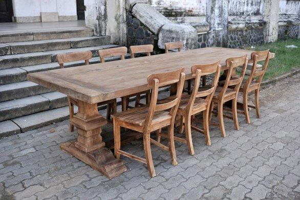 Teak Klostertisch 300x100cm + 8 Stühle - Bild 1