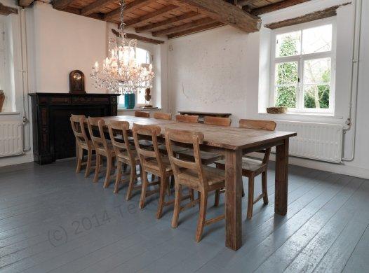 Teak Tisch Dingklik 300x100cm + 10 Stühle - Bild 0