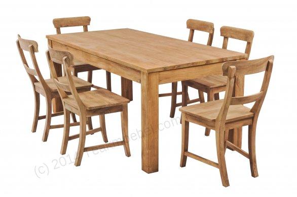 Teak Tisch 160x90cm + 6 Stühle - Bild 1
