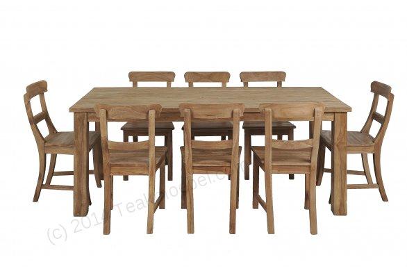 Teak Tisch gebürstet 200 x 100 + 8 Stühle - Bild 0