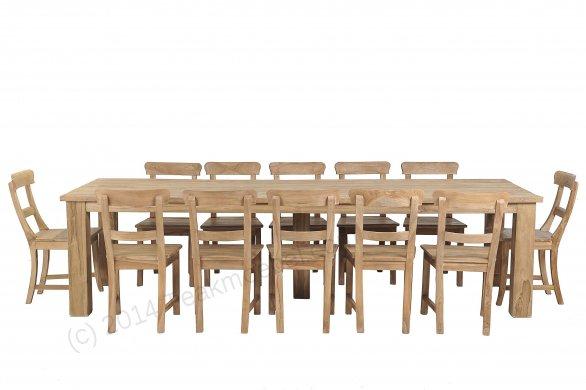 teak tisch gebürstet 300 x 100 + 12 stühle | teakmoebel,