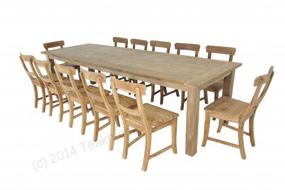 Teak Tisch Dingklik 300x100cm + 12 Stühle - Bild 0