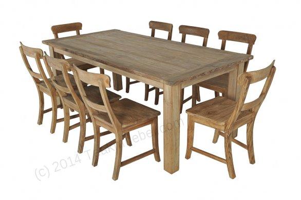 Teak Tisch Dingklik 200x100 + 8 Stühle - Bild 1