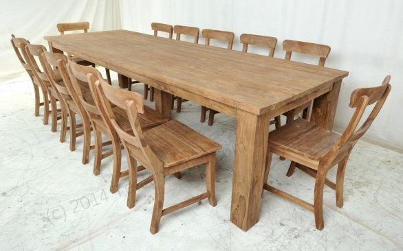 Teak Tisch gebürstet 300 x 100 + 12 Stühle - Bild 1